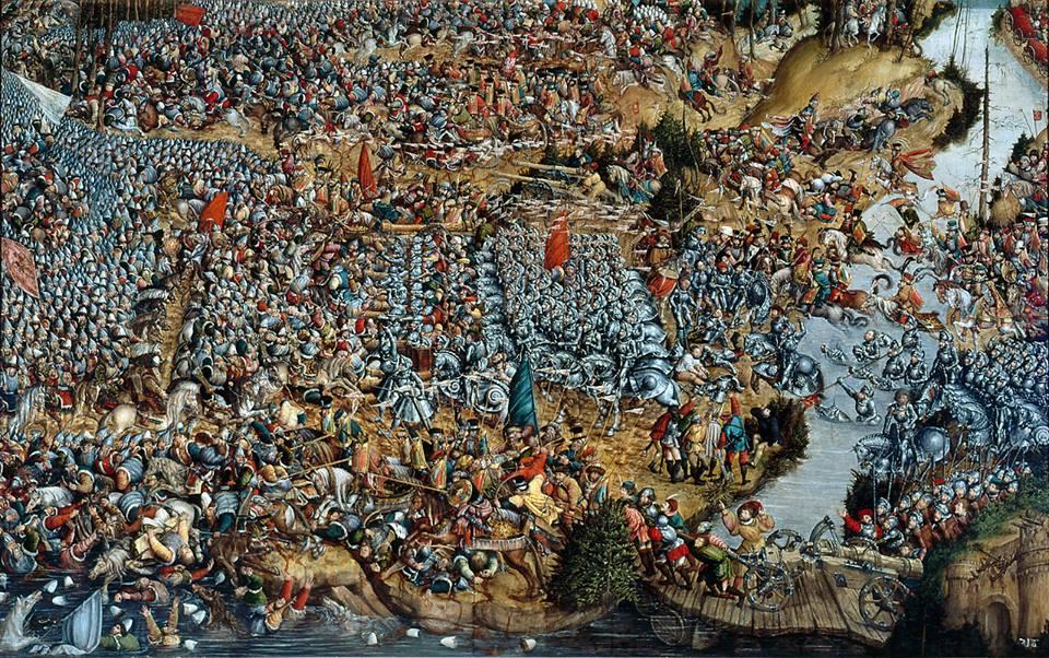 Wczesnorenesansowy obraz nieznanego malarza przedstawiający, bitwę pod Orszą.