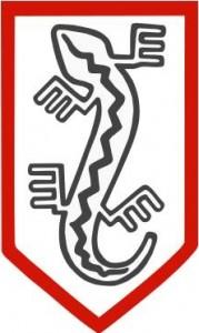 Symbol Związku Jaszczurczego na odznace żołnierzy NSZ.