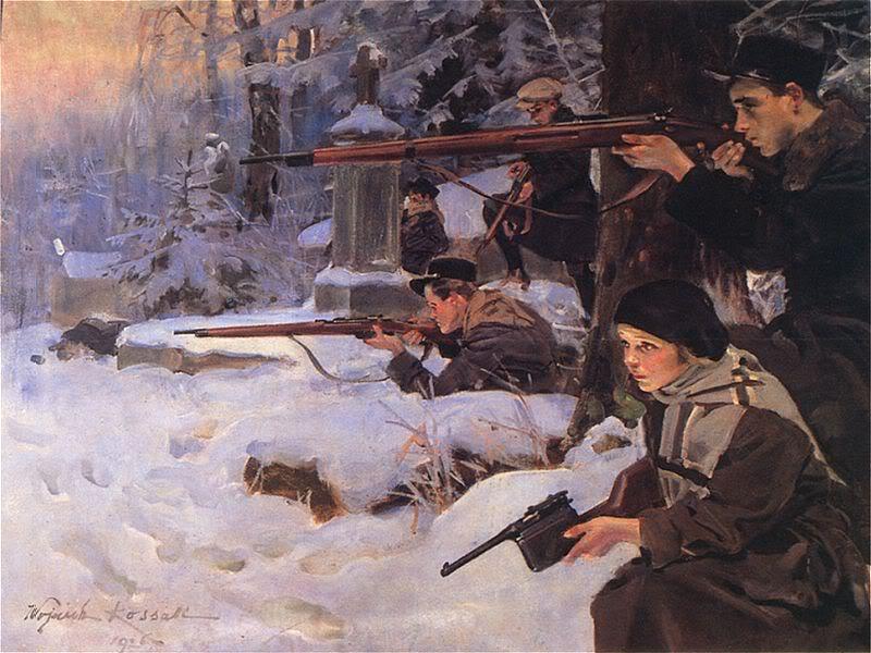 Orlęta – obrona cmentarza, Wojciech Kossak 1926.