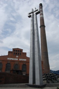 """Pomnik poległych górników KWK """"Wujek""""."""