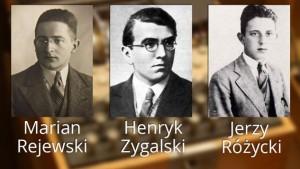 """Polscy matematycy, którzy złamali szyfr """"Enigmy""""."""