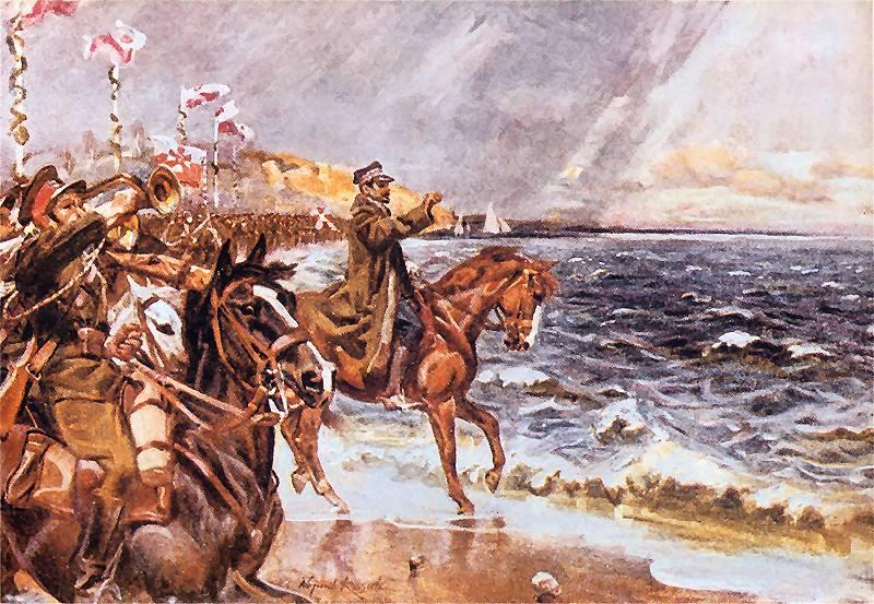"""""""Zaślubiny Polski z Bałtykiem"""", obraz Wojciecha Kossaka z 1931 roku."""