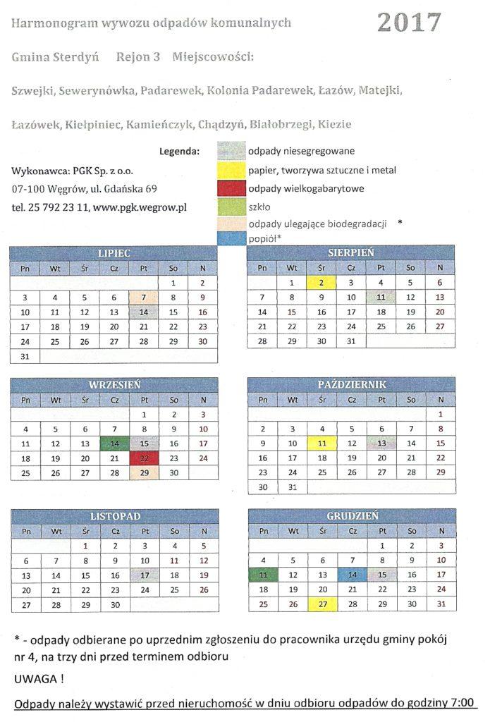 harmonogram wywozu smieci kielpiniec 2017