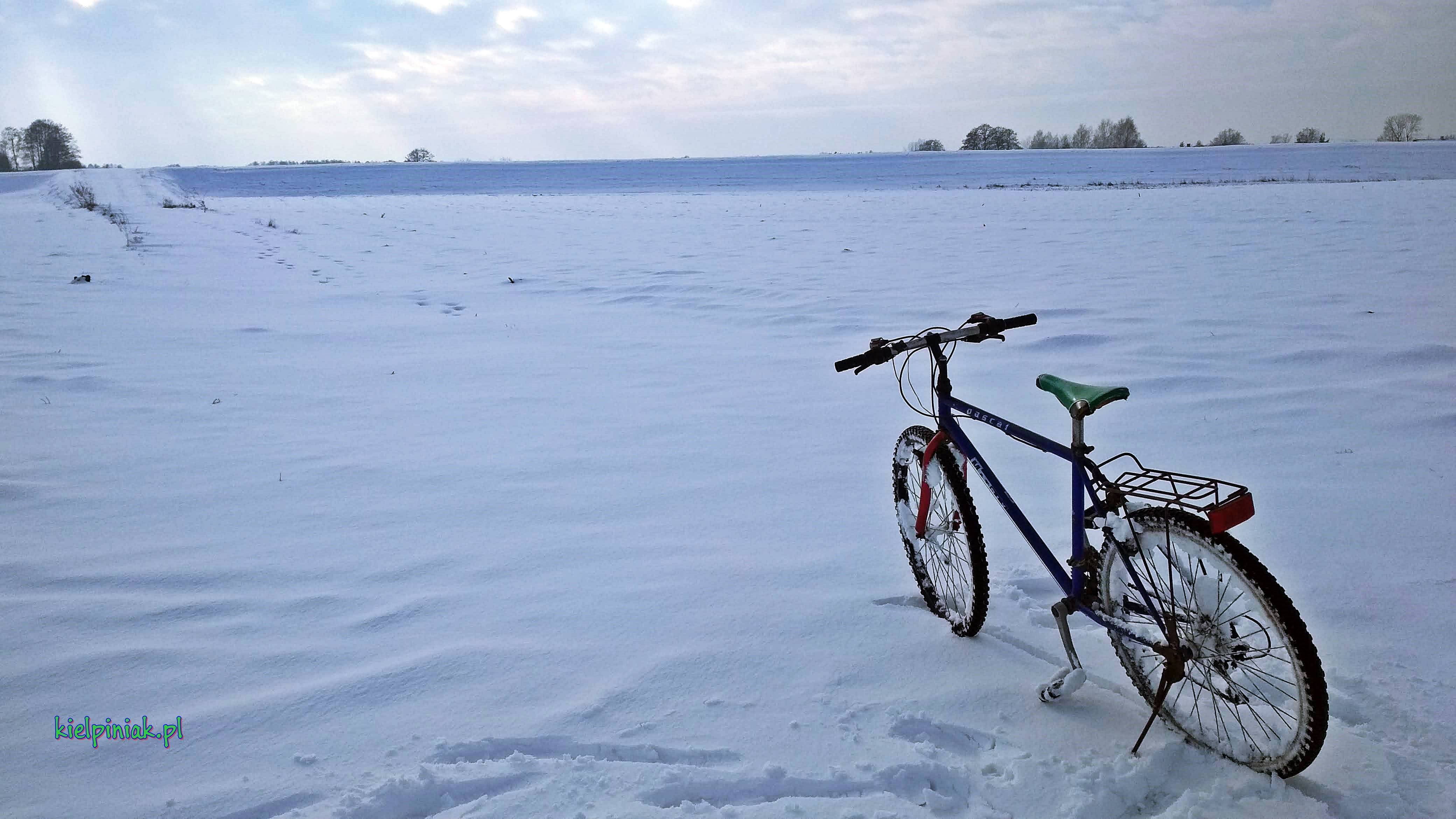 rowerem zimą nad bug
