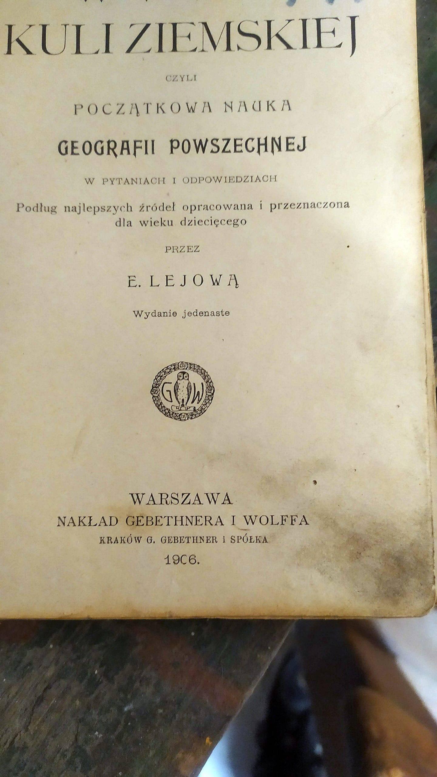 książka o geografii z 1906r