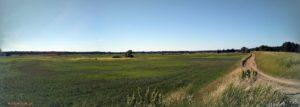 Panoramiczny widok z wału na łąki we wsi kiełpiniec