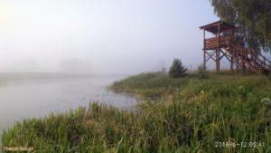 mgła.. poranek nad jeziorem w kiełpińcu czerwiec 2018